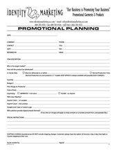 Promotional Planning Form - Click to Download